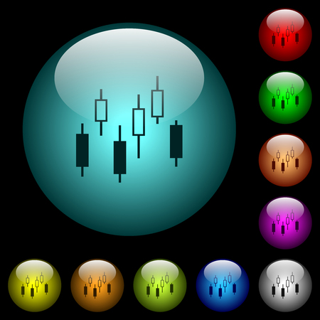 Candlestick chart icons in color illuminated spherical glass buttons on black background. Can be used to black or dark templates