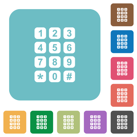 Numeric keypad white flat icons on color rounded square backgrounds
