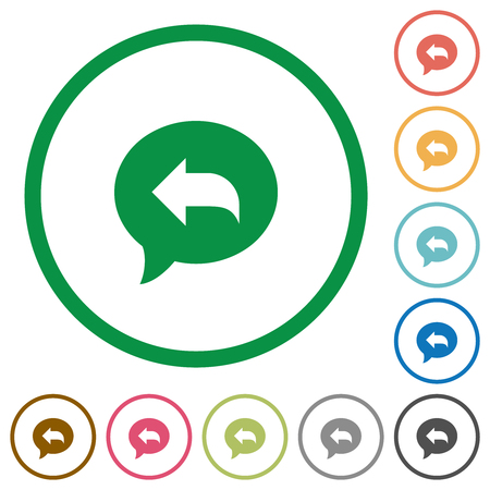 Reply message flat color icons in round outlines on white background