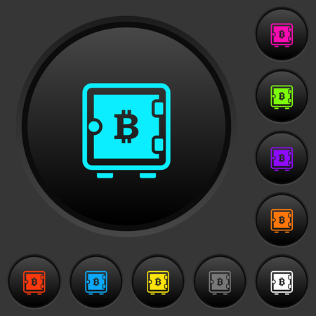 Bitcoin strong box dark push buttons with vivid color icons on dark grey background