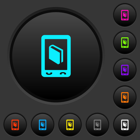 Mobile dictionary dark push buttons with vivid color icons on dark grey background Ilustrace