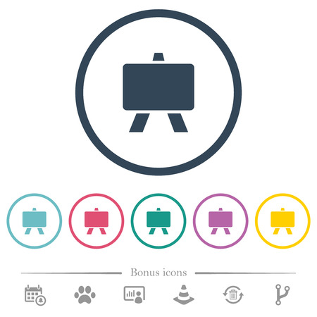 Blackboard flat color icons in round outlines. 6 bonus icons included.