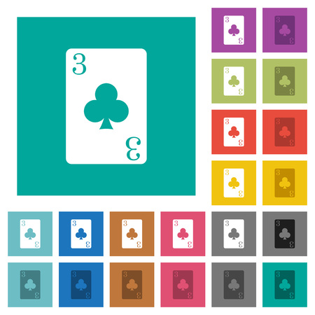 Three of clubs card multi colored flat icons on plain square backgrounds. Included white and darker icon variations for hover or active effects.
