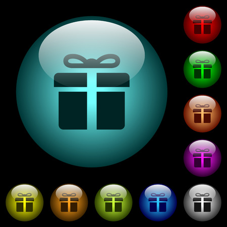Gift box icons in color illuminated spherical glass buttons on black background. Can be used to black or dark templates