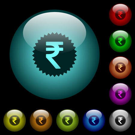 Indian Rupee sticker icons in color illuminated spherical glass buttons on black background. Can be used to black or dark templates