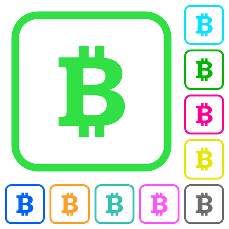 Bitcoin sign vivid colored flat icons in curved borders on white background Illustration