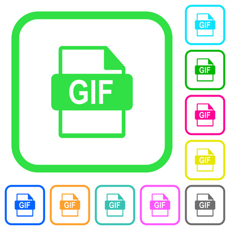 GIF file format vivid colored flat icons in curved borders on white background
