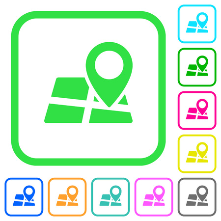 Location pin on map vivid colored flat icons in curved borders on white background
