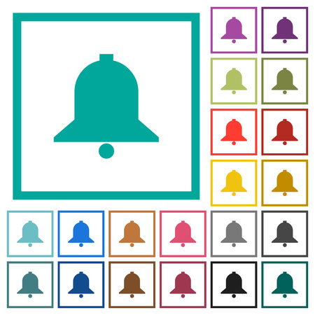 Single bell flat color icons with quadrant frames on white background
