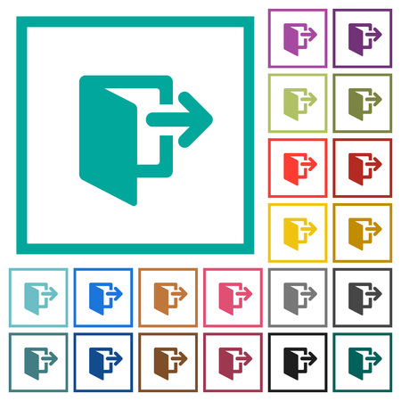 Exit flat color icons with quadrant frames on white background