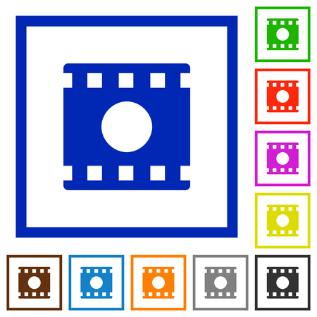 Movie record flat color icons in square frames on white background