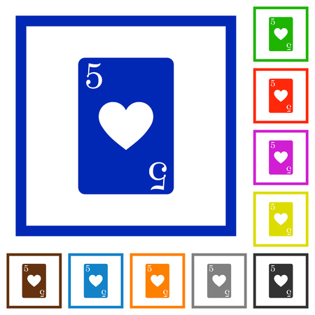 Five of hearts card flat color icons in square frames on white background Foto de archivo - 112303016