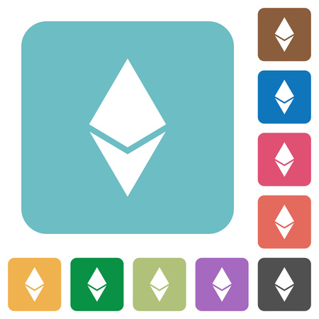 Ethereum digital cryptocurrency white flat icons on color rounded square backgrounds