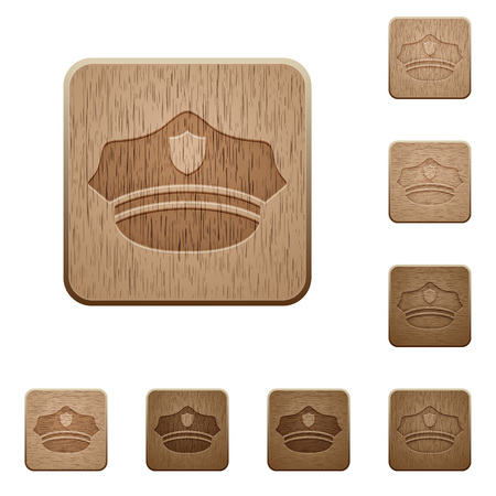 Police hat on rounded square carved wooden button styles Иллюстрация