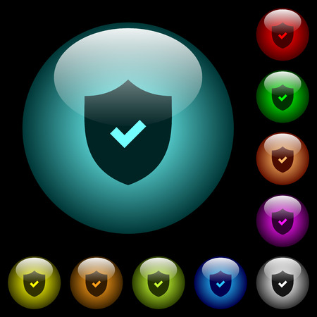Active security icons in color illuminated spherical glass buttons on black background. Can be used to black or dark templates