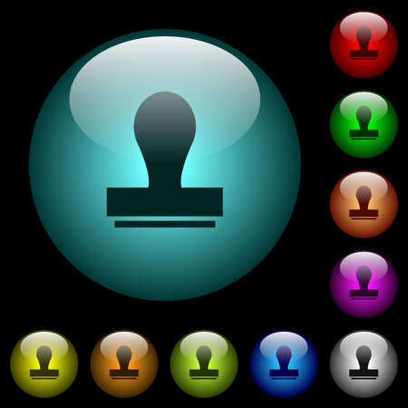 Stamp icons in color illuminated spherical glass buttons on black background. Can be used to black or dark templates