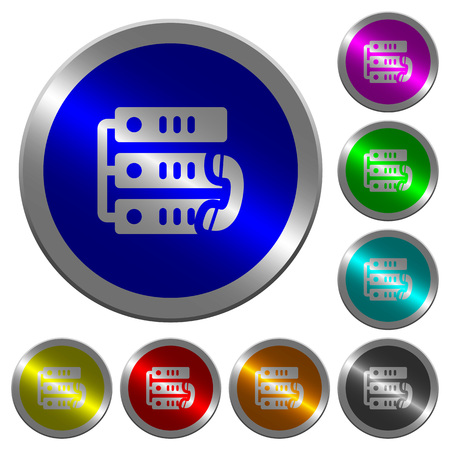 VoIP call icons on round luminous coin-like color steel buttons