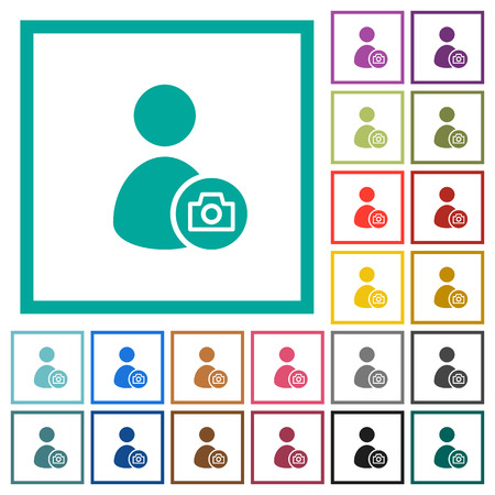 Account profile photo flat color icons with quadrant frames on white background