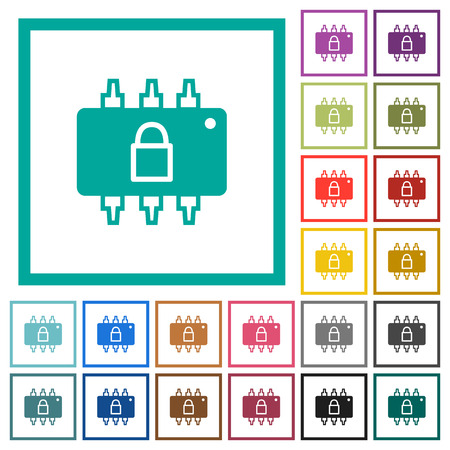 Hardware locked flat color icons with quadrant frames on white background Çizim