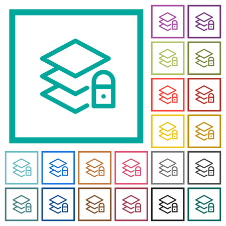 Locked layers flat color icons with quadrant frames on white background