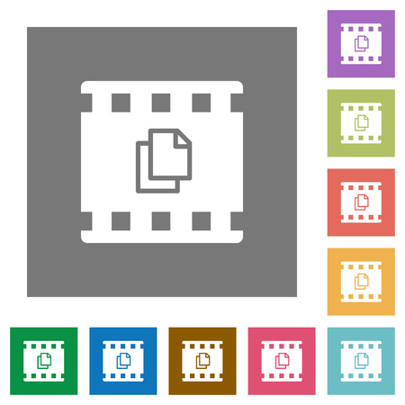 Copy movie flat icons on simple color square backgrounds
