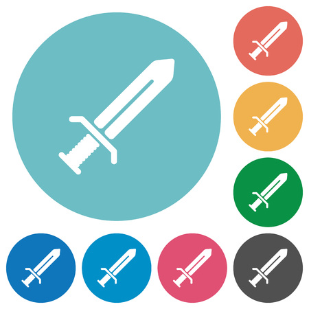 Sword flat white icons on round color backgrounds