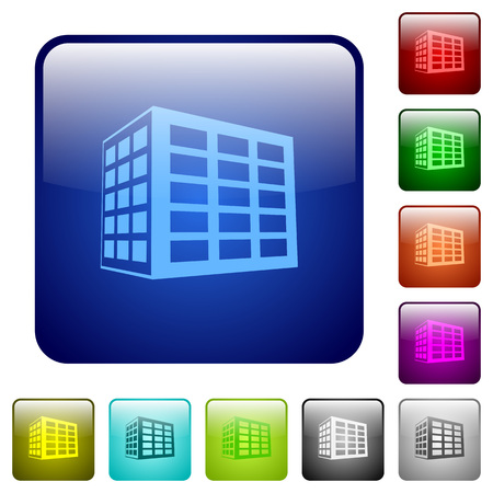 Office block icons in rounded square color glossy button set