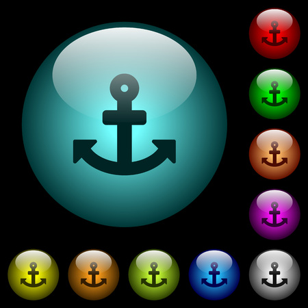 Anchor icons in color illuminated spherical glass buttons on black background. Can be used to black or dark templates