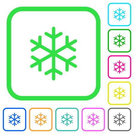 Single snowflake vivid colored flat icons in curved borders on white background