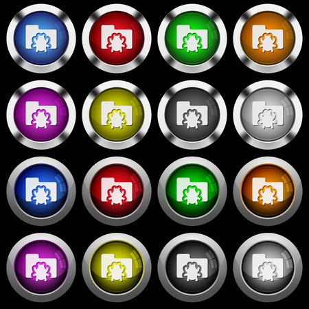 Bug folder white icons in round glossy buttons with steel frames on black background. The buttons are in two different styles and eight colors.
