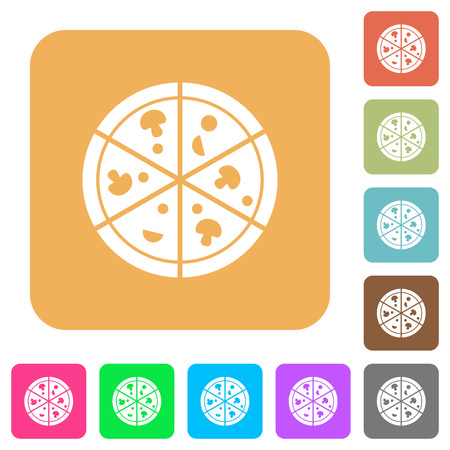 Pizza icons flat icons on rounded square vivid color backgrounds.