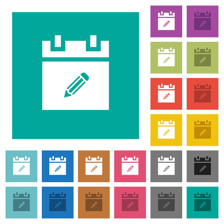 Edit schedule item multi colored flat icons on plain square backgrounds. Included white and darker icon variations for hover or active effects.