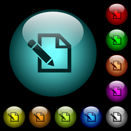 Edit with pencil icons in color illuminated spherical glass buttons on black background. Can be used to black or dark templates