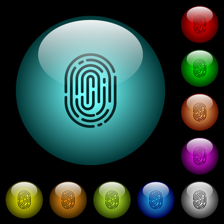 Fingerprint icons in color illuminated spherical glass buttons on black background. Can be used to black or dark templates Vectores