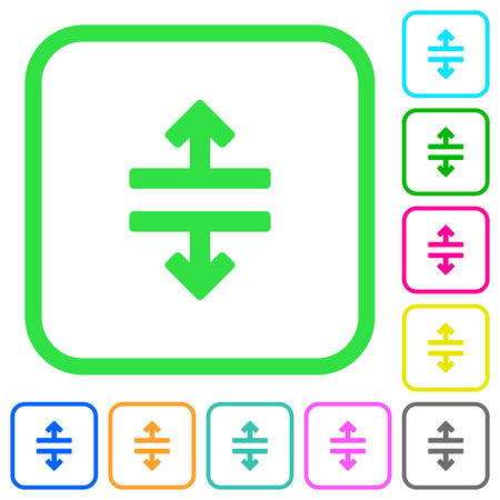 Horizontal split vivid colored flat icons in curved borders on white background