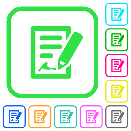 Signing contract vivid colored flat icons in curved borders on white background Vetores