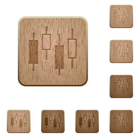 Candlestick chart on rounded square carved wooden button styles Vecteurs