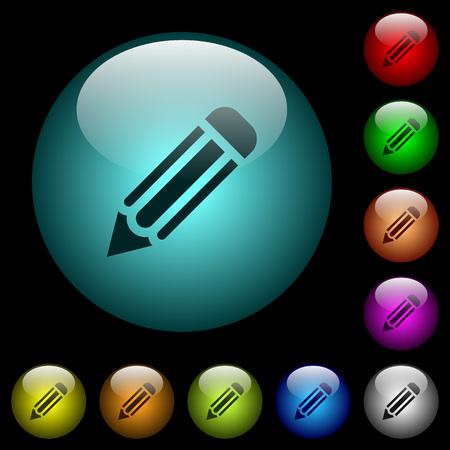 Icônes de crayon unique en boutons de verre sphérique illuminés de couleur sur fond noir. Peut être utilisé pour des modèles noirs ou sombres
