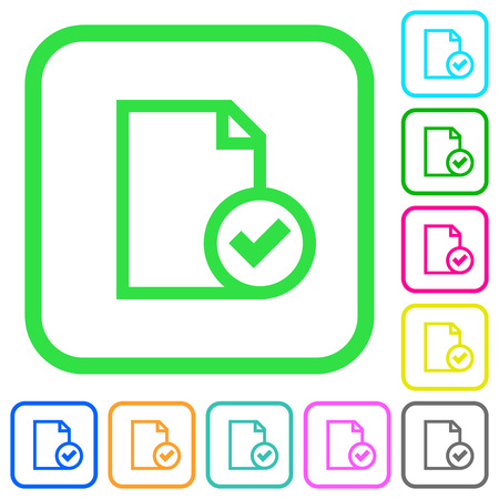 Document accepted vivid colored flat icons in curved borders on white background