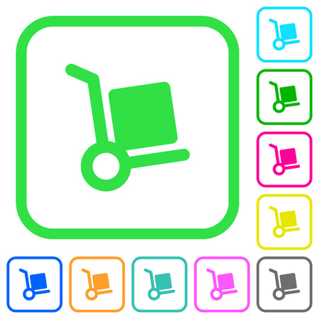 Hand truck vivid colored flat icons in curved borders on white background