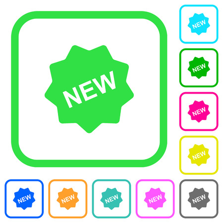 New badge vivid colored flat icons in curved borders on white background Illustration