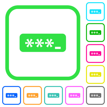 PIN code vivid colored flat icons in curved borders on white background Иллюстрация