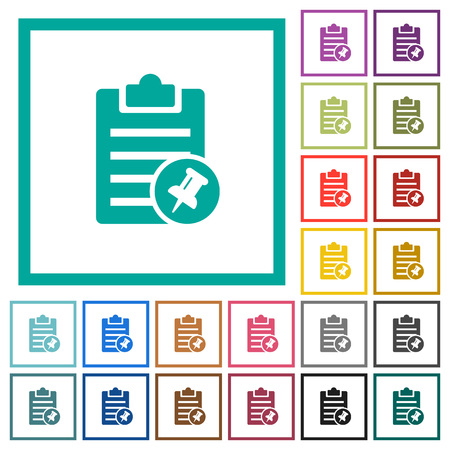 Note pin flat color icons with quadrant frames on white background