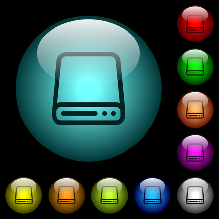 Hard disk drive icons in color illuminated spherical glass buttons on black background. Can be used to black or dark templates