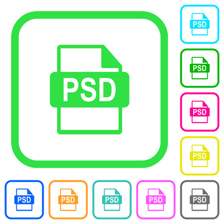 PSD file format vivid colored flat icons in curved borders on white background Illustration