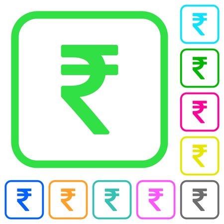 Indian Rupee sign vivid colored flat icons in curved borders on white background Illustration