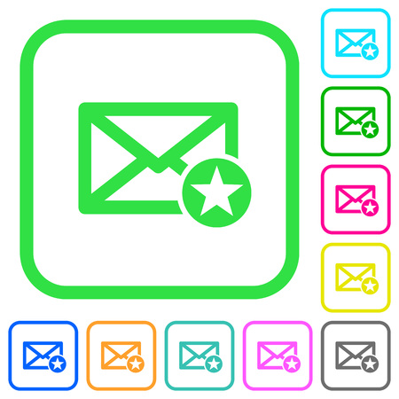 Marked mail vivid colored flat icons in curved borders on white background