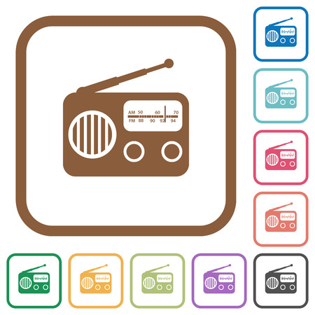 Vintage retro radio simple icons in color rounded square frames on white background