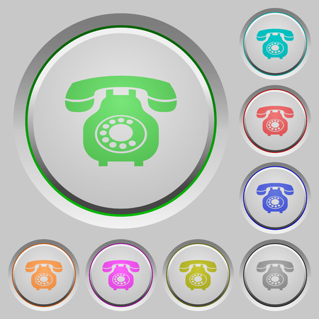 Vintage retro telephone color icons on sunk push buttons