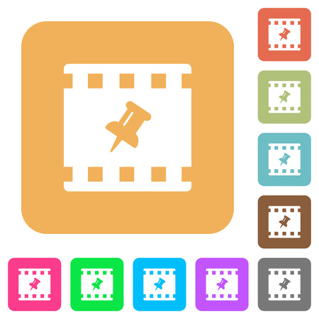 Pin movie flat icons on rounded square vivid color backgrounds.